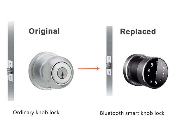 khóa vân tay thay thế cho khóa tay nắm tròn tenon knob ttlock