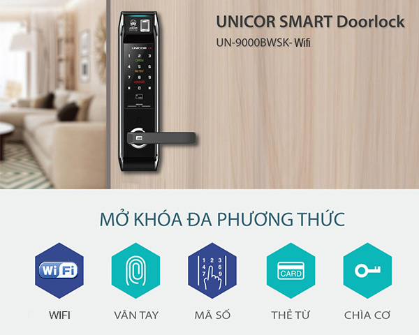 Khóa Vân Tay Wifi Unicor UN 9000BWSK