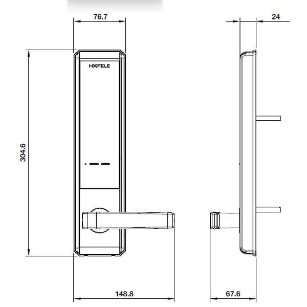 kích thước khóa điện tử hafele 7200